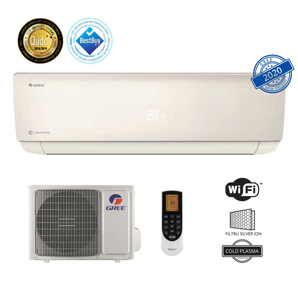 Aparat de aer conditionat GREE Eco Inverter Bora A4 Silver 24000 btu - GWH24AAD-K6DNA4A, Wi-Fi Control Integrat, Filtru Silver Ion, Generator Cold Plasma, Freon Ecologic R32, Clasa A++, Afisaj LED