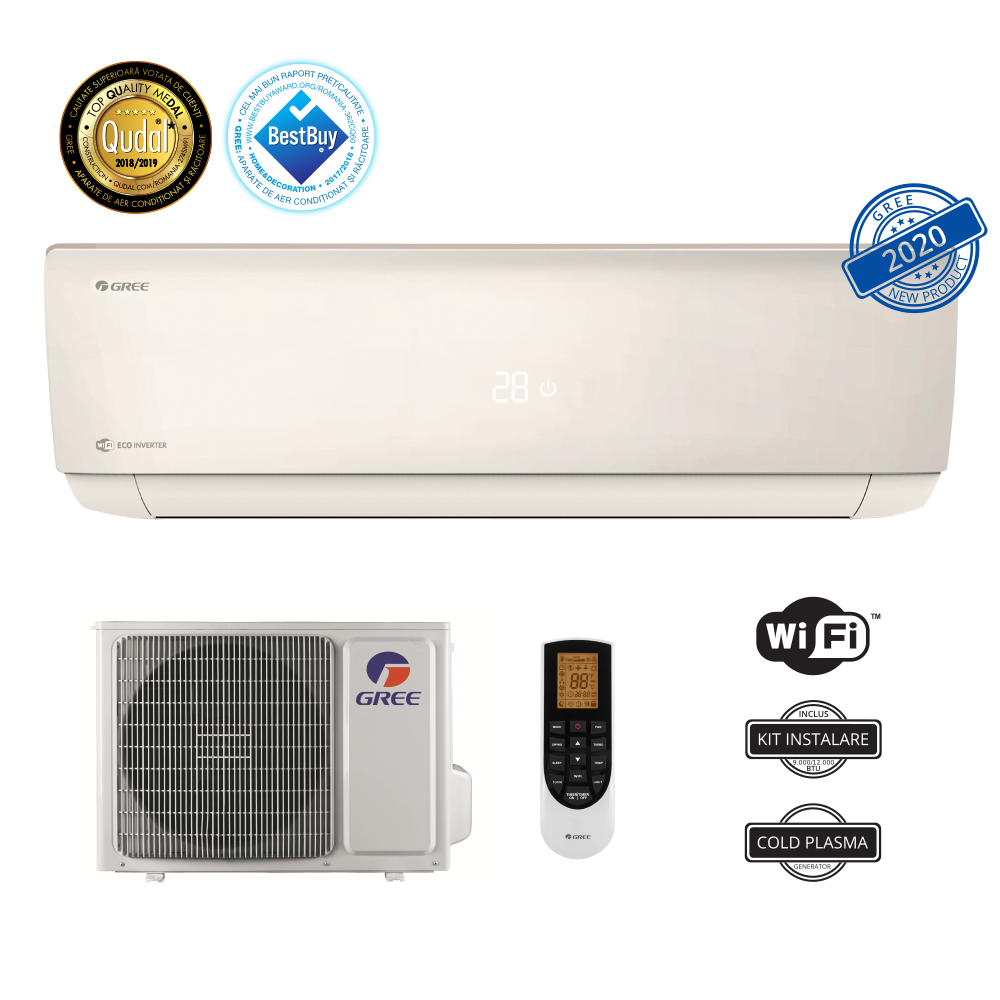 Aparat de aer conditionat GREE Eco Inverter Bora A4 Silver 9000 btu - GWH09AAB-K6DNA4A, Wi-Fi Control Integrat, Filtru Silver Ion, Generator Cold Plasma, Freon Ecologic R32, Clasa A++, Afisaj LED