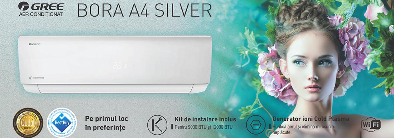 Aparat de aer conditionat GREE Eco Inverter Bora A4 Silver 12000 btu - GWH12AAB-K6DNA4A, Wi-Fi Control Integrat, Filtru Silver Ion, Generator Cold Plasma, Freon Ecologic R32, Clasa A++, Afisaj LED